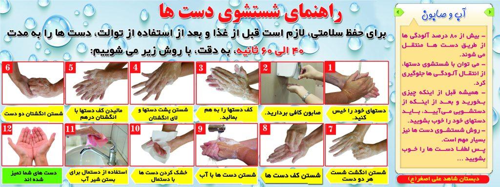 نحوه شستشوی صحیح و درست دستان